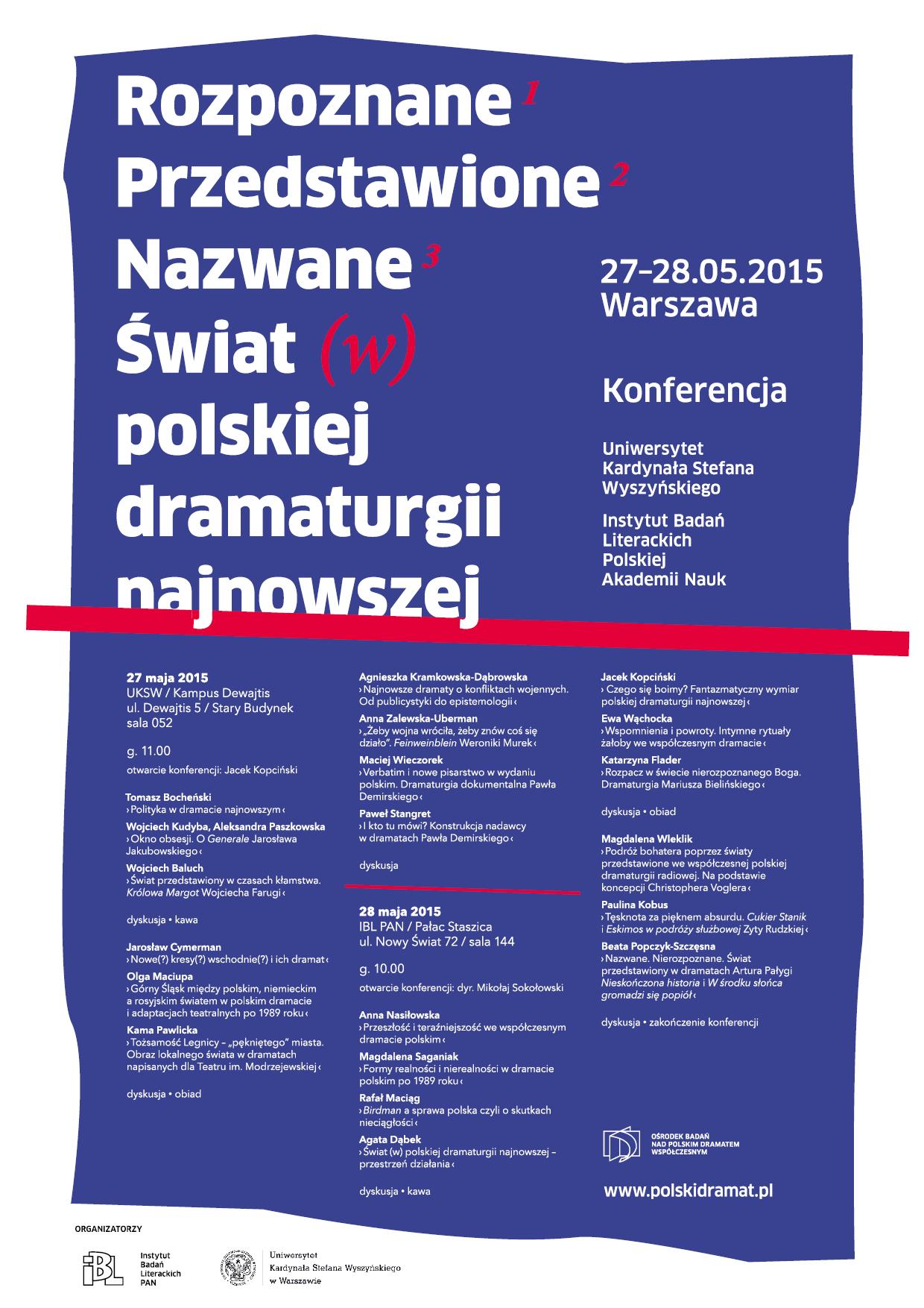 Świat (w) polskiej dramaturgii najnowszej. Konferencja